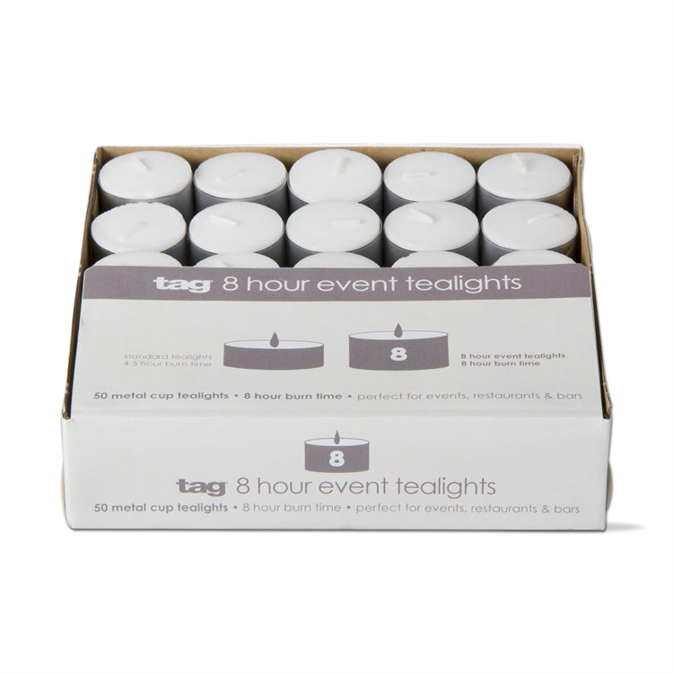 8-hour Event Tealight Candles, Box of 50