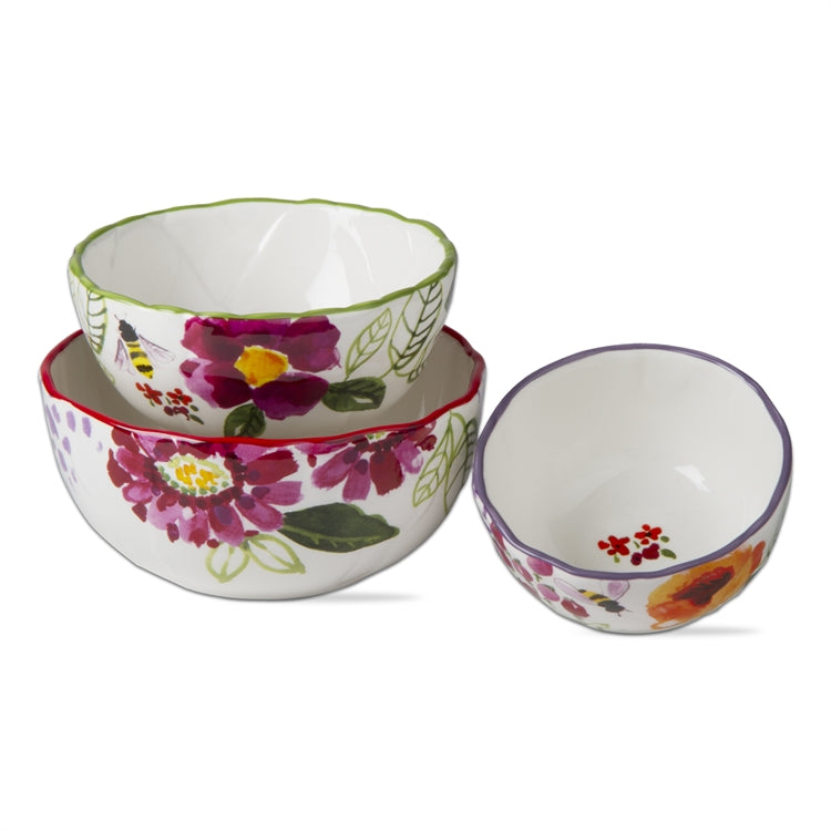 Fresh Flowers Bowls, Set of 3