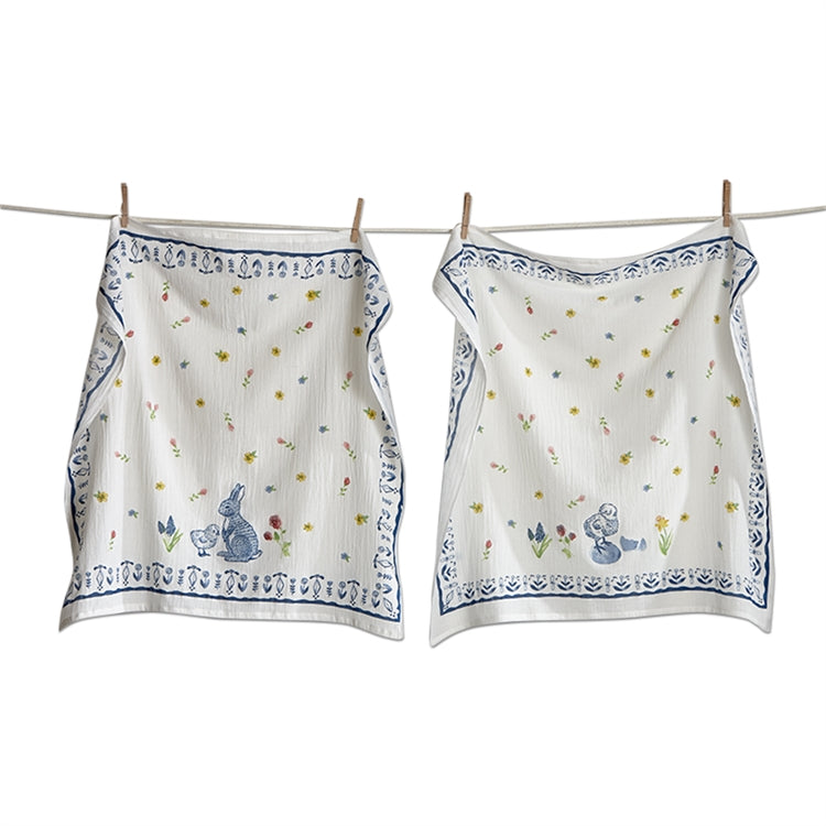 Bunny and Chick Delft Flour Sack Dishtowels, Set of 2