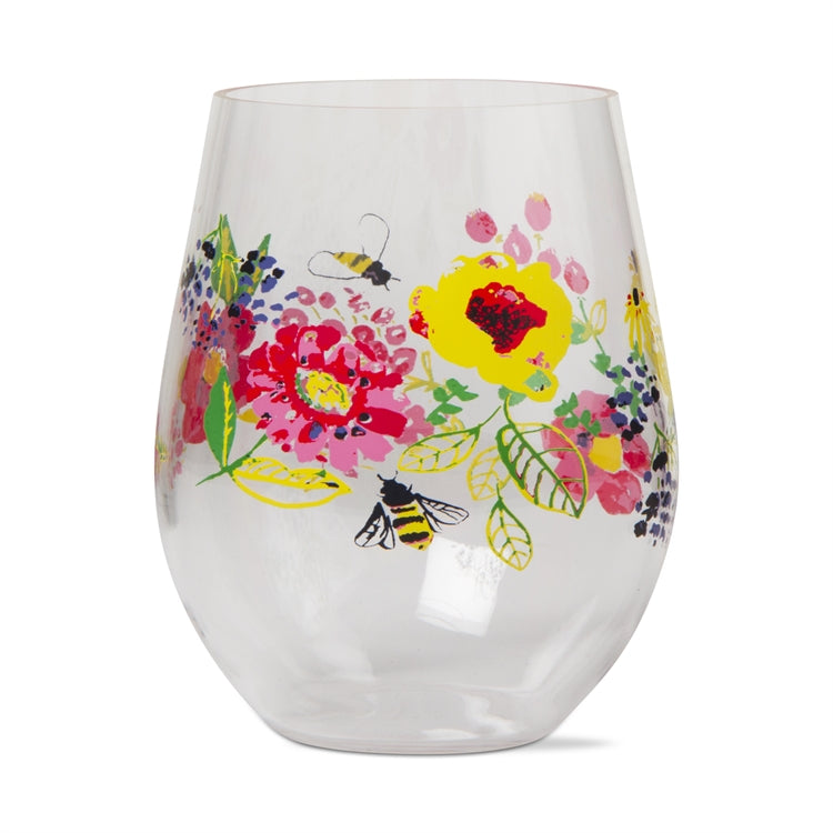 Fresh Flowers Acrylic Stemless Wine Glasses, Set of 4
