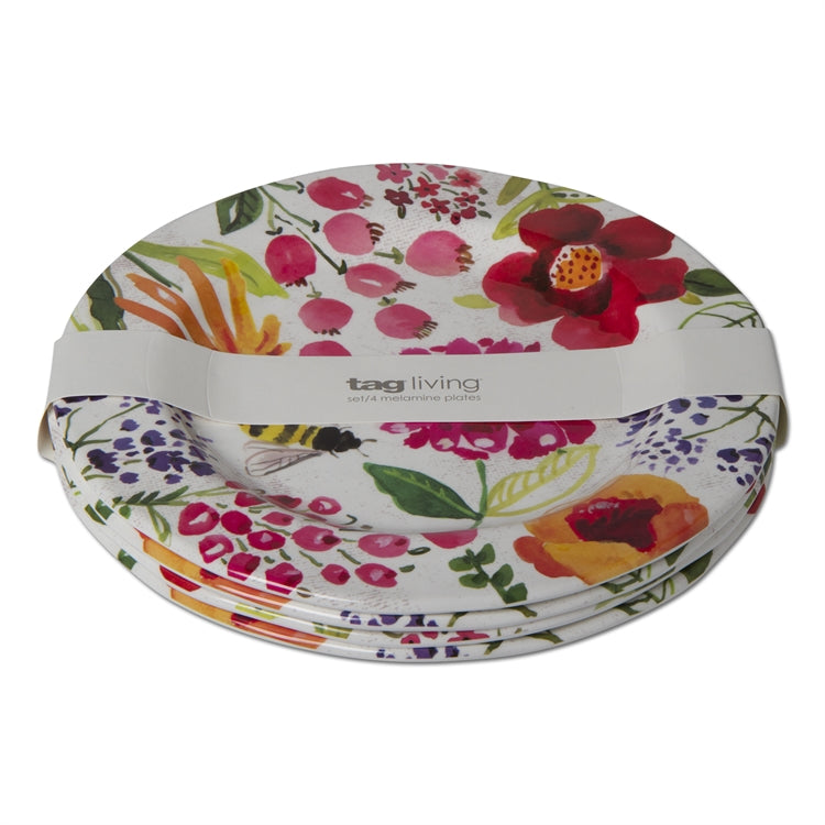 Fresh Flowers Melamine Dinner Plates, Set of 4