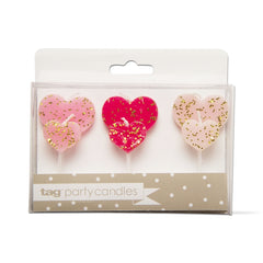 Heart Shaped Party Candles, Set of 6