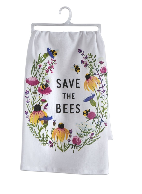 Save The Bees Flour Sack Dishtowel