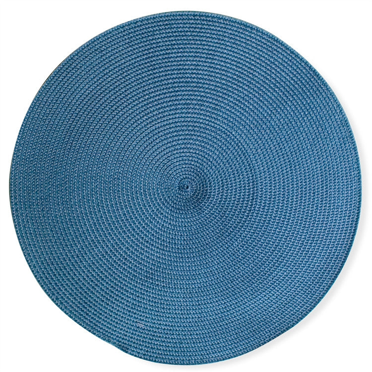 Round Woven Blue Placemats, Set of 4