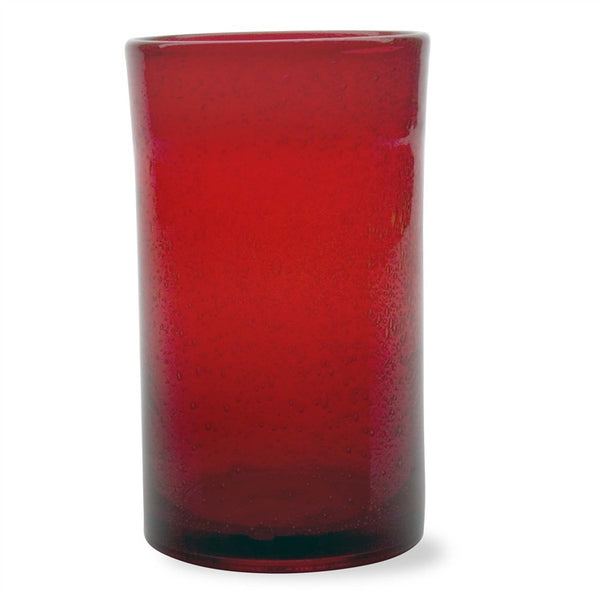 Rich Red Bubble Glass Tumblers, Set of 6