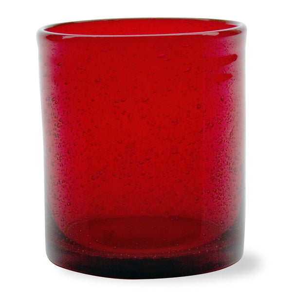Rich Red Bubble Glass Double Old Fashioned, Set of 6 - SAVE 10%