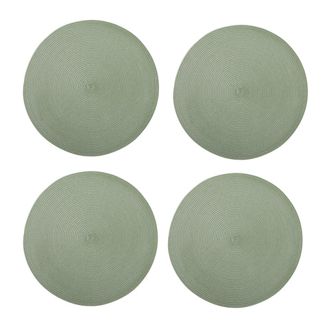 Round Woven Sage Placemats, Set of 4