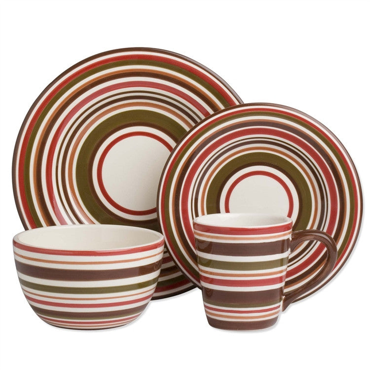 Chocolate Stripe Sonoma 16-Piece (4 x 4-Piece) Place Setting for 4