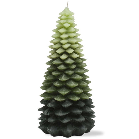 Ombre Evergreen Chunky Leaf Tree Candle, Extra Large