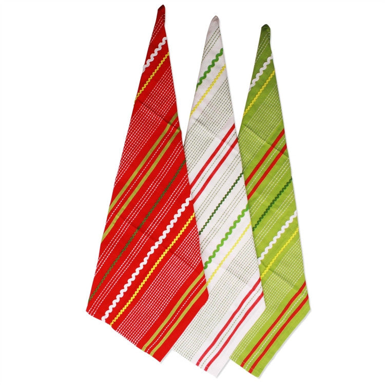 Christmas Ric Rac Dishtowels, Set of 3