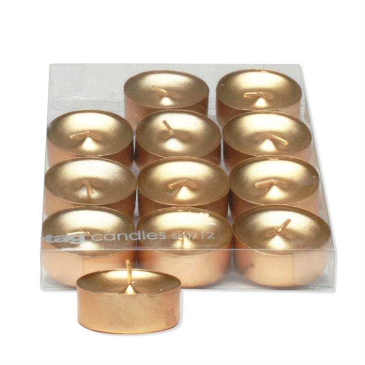 Gold Shimmer Metallic Tealight Candles, Set of 12