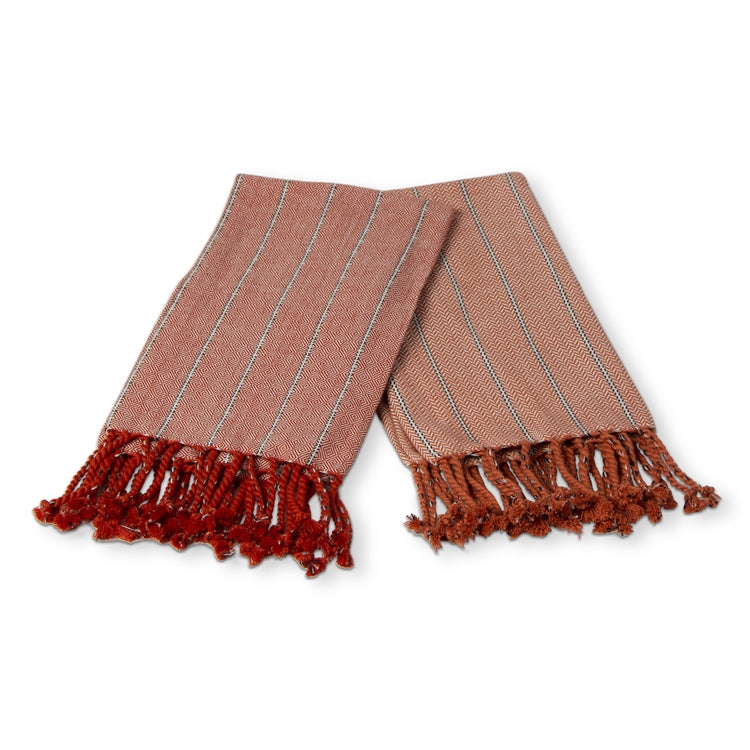 Hudson Hand Towels in Burnt Sienna, Set of 2