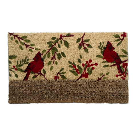 Cardinals and Berries Boot Scrape Coir Mat