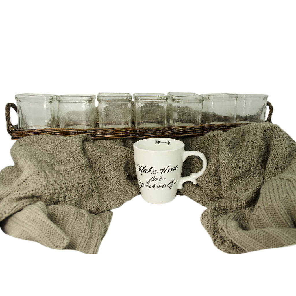 Get Cozy Throw, Tea Light Candles & Mug Gift Set, 3 Piece