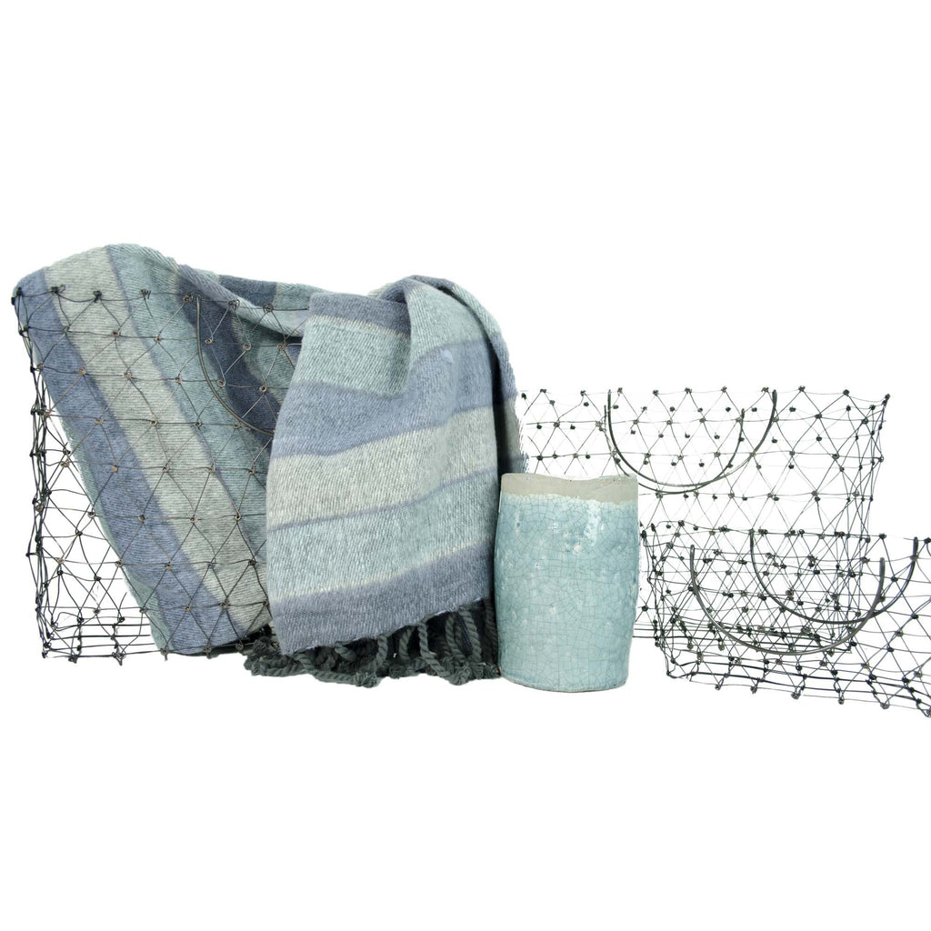 Home Decor Basket with Throw & Vase Gift Set, 3 Piece