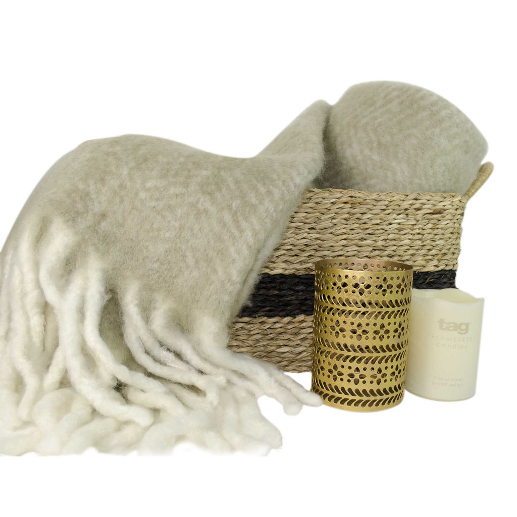 Wool Throw, Basket & Candle Light Gift Set, 4 Piece
