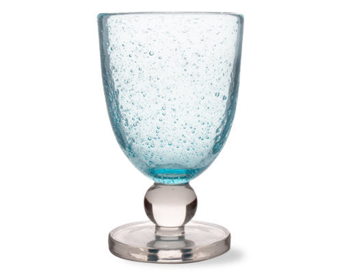 Aqua Blue Bubble Glass Goblet -Tag