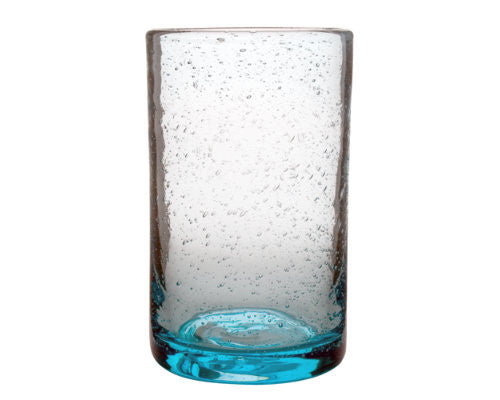 Aqua Blue Bubble Glass Tumbler -Tag
