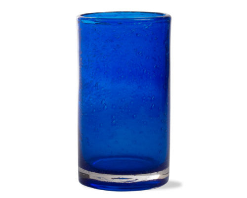 Indigo Cobalt Blue Bubble Glass Tumbler -Tag