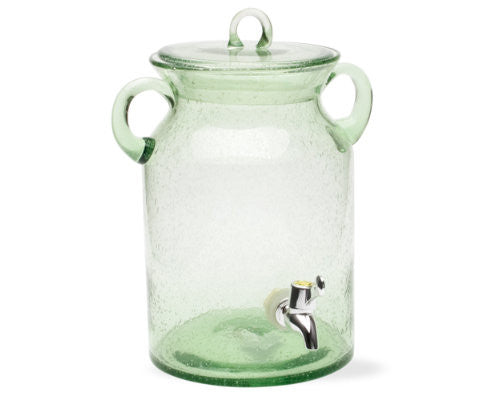 Green Vintage Glass Jar Drink Dispenser -Tag