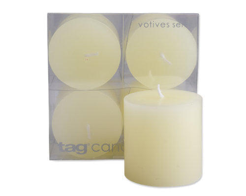 "2"" x 2"" Ivory Chapel Candles, Set of 4 -Tag"