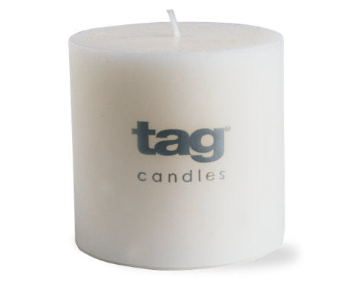 "3"" x 3"" White Chapel Candle -Tag"