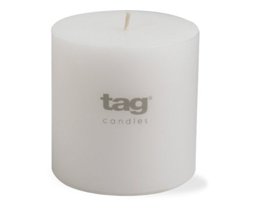 "4"" x 4"" White Chapel Candle -Tag"