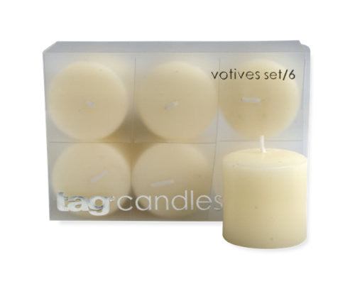 Ivory Chapel Votive Candles, Set of 6 -Tag