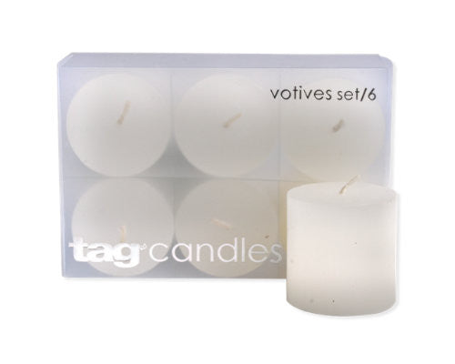 White Chapel Votive Candles, Set of 6 -Tag