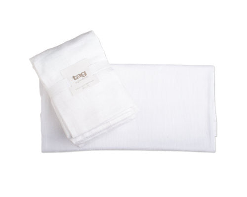 Flour Sack White Dishtowels, Set of 5 -Tag