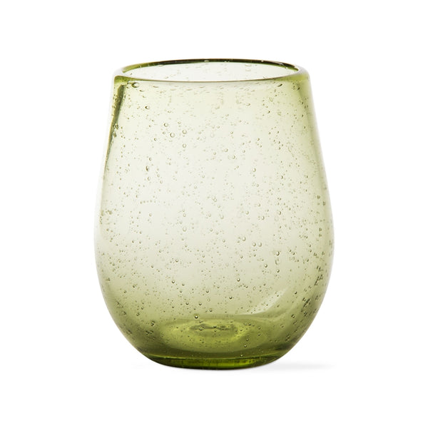 Foliage Bubble Glass Stemless Wine Glasses, Set of 6