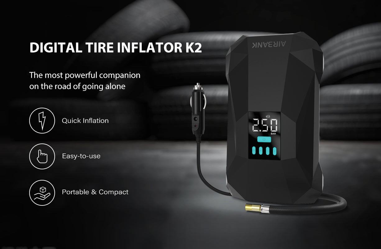 Airbank 12V DC Digital Tire Inflator K2. K2 is an air pump developed specifically for car tires. It has a so powerful motor that it takes only 1-2 minutes to inflate a 195/65R15 model tire from 2 bar to 2.5 bar. Its maximum inflation pressure can reach 150Psi/10.3Bar.