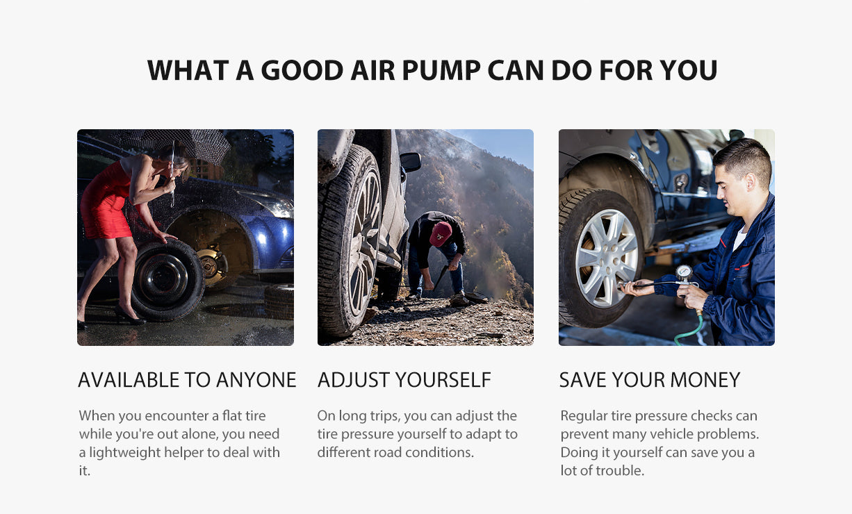 What A good Pump can do for you? On long trips, you can adjust the tire pressure yourself to adapt to different road conditions.
