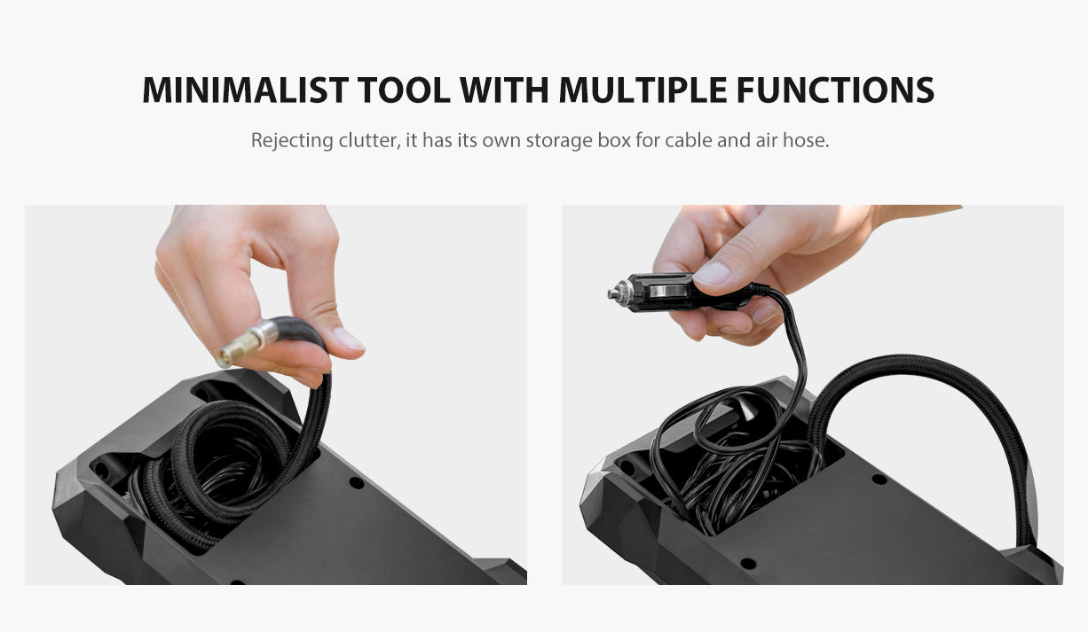 Minimalist tool with multiple functions. Rejecting clutter, it has its own storage box for cable and air hose.