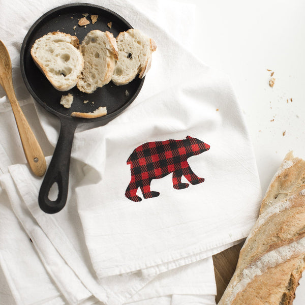 Buffalo Plaid Bear Flour Sack Towel