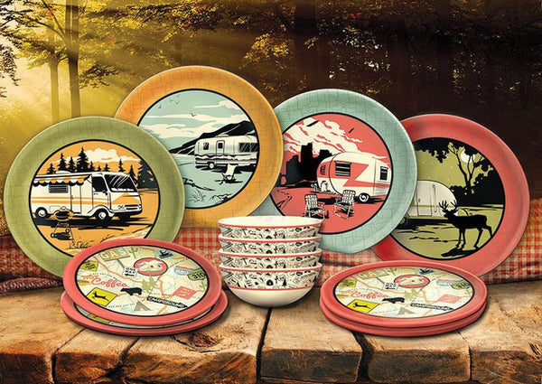 Camp Casual 12 Piece Retro Dish Set