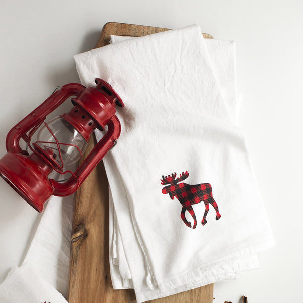 Buffalo Plaid Moose Flour Sack Towel