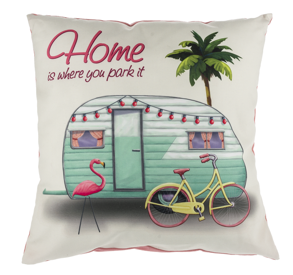 """Home Is Where You Park It"" Camper Pillow"