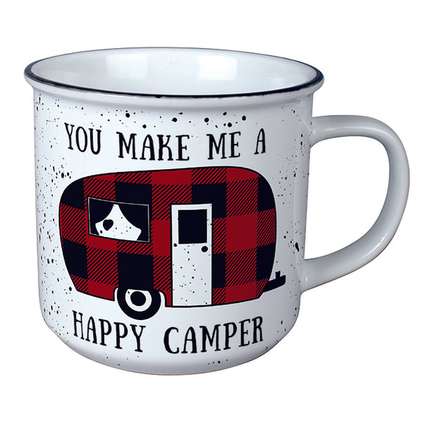 """Happy Camper"" Vintage Mug"