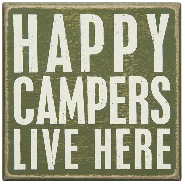 Happy Campers Live Here' Box Décor