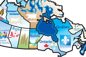 Canadian Provinces Travel Map Stickers