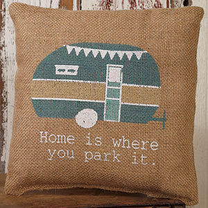 Home Is Where You Park It Burlap Pillow