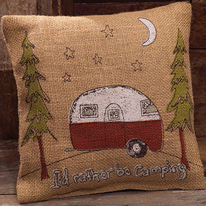 Rather Be Camping Burlap Pillow