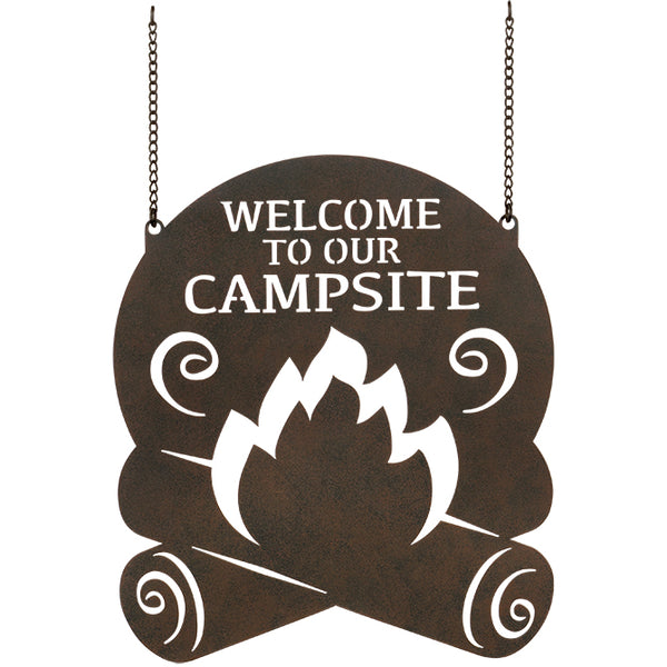 """Campsite Welcome"" Metal Garden Flag"
