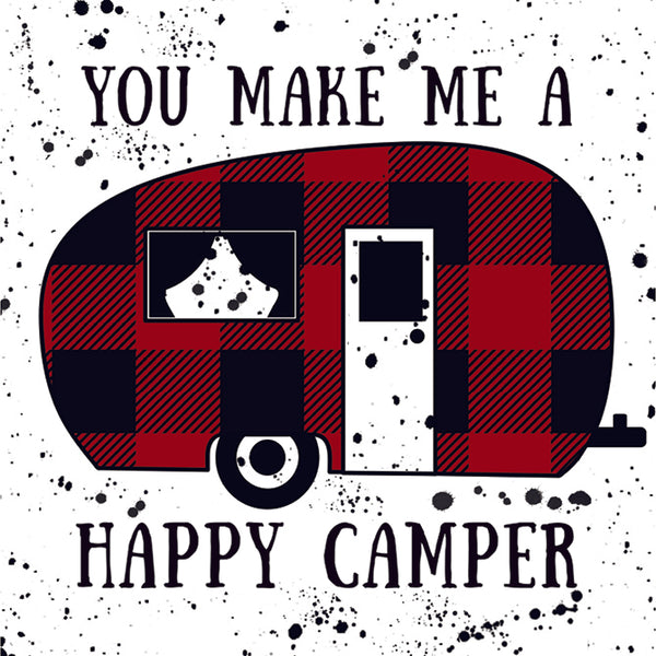"""Happy Camper"" Square Coaster"