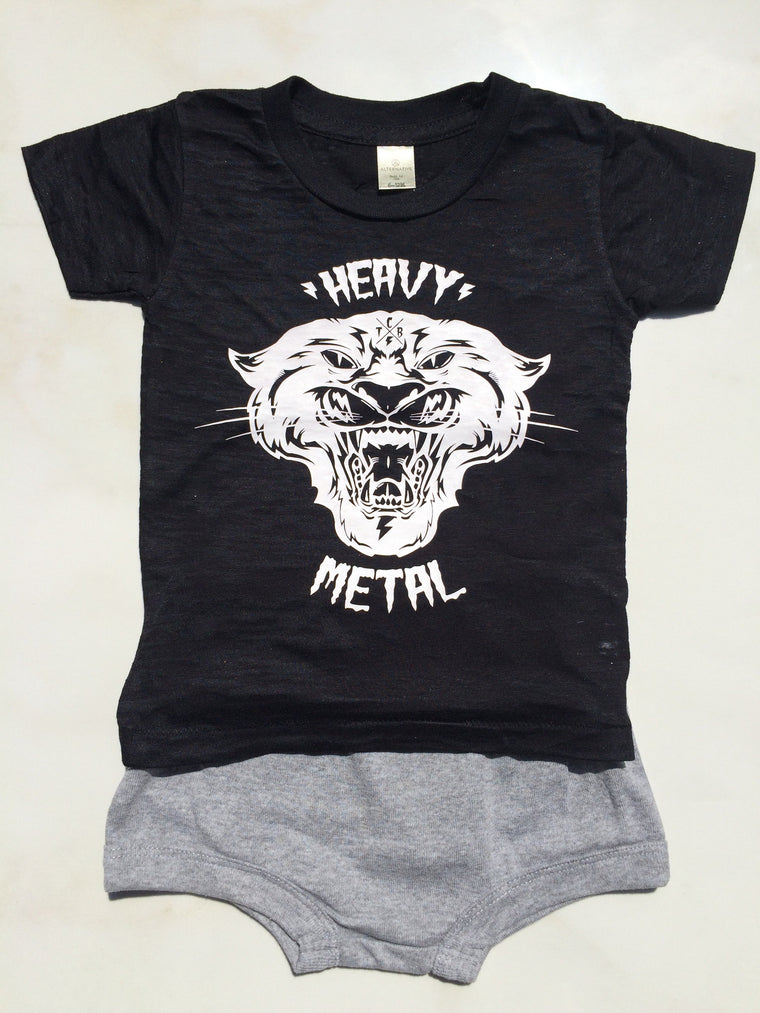 Heavy Metal Burnout Tee & Shorts