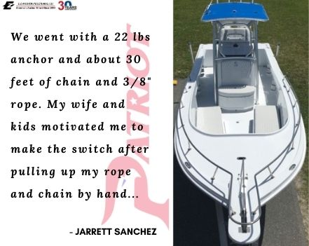 Patriot EZ-2 by E-Z Anchor Puller drum anchor winches is installed on a 25' Mako Center Console