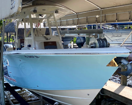 E-Z Anchor Puller's Rebel EZ-4 unit is installed on a 2019 Cobia 301 CC owned by charter captain Matt Ruffing.