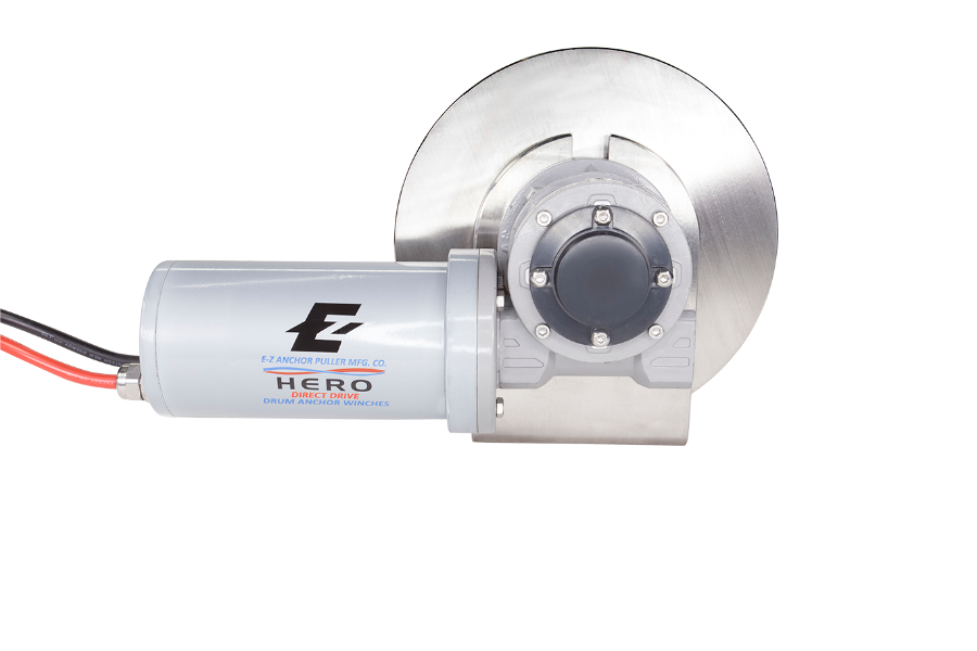 Hero direct drive marine anchor winch. Best small boat electric anchor winch for river and pontoon boats by EZ anchor puller.
