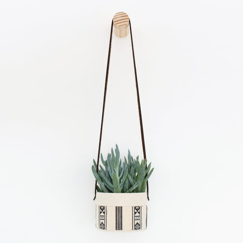 Small Natural Canvas Hanging Planter  |  Black + White